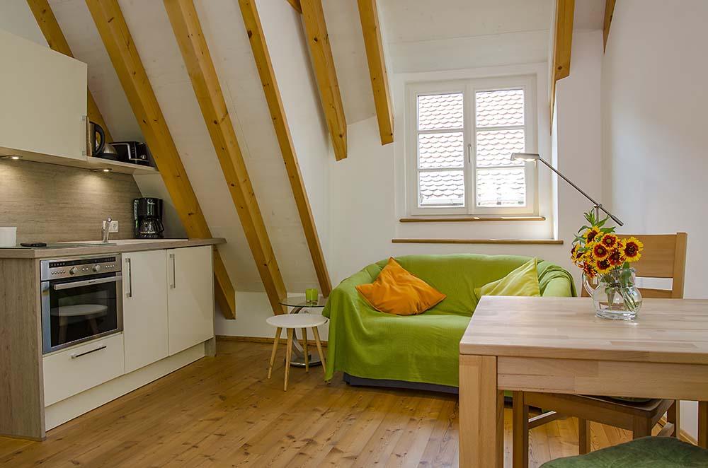 Wohn-/Essbereich (4) mit Küchenzeile, komplett ausgestattet - Apartment Idig, Gästehaus Meerspinne