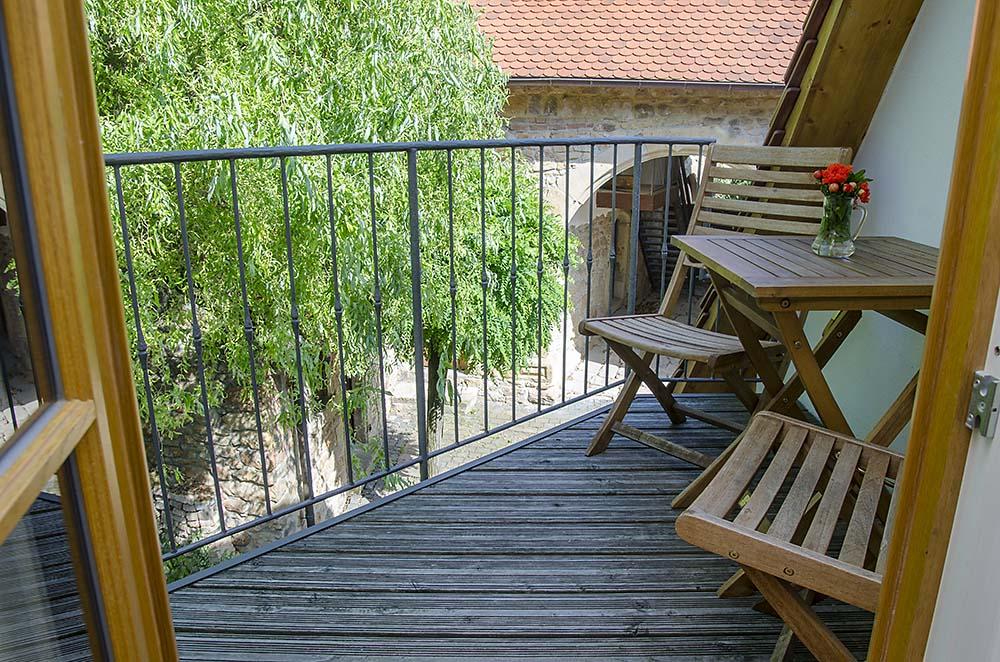 Ruhiger Balkon - Apartment Idig, Gästehaus Meerspinne