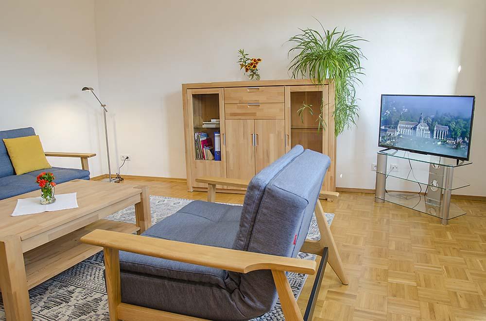 Wohnzimmer, modern u. hochwertig ausgestattet - Fewo Meerspinne, Gästehaus Meerspinne